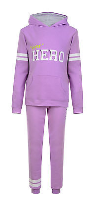 Girls Lilac 'Super Hero' 2 Piece Sport Tracksuit Hoodie Sweat Pants 2-13 Yrs