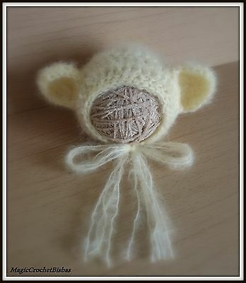 Newborn Baby Boy Girl Handmade Crochet   mohairbear  Bonnet Hat Photo Prop