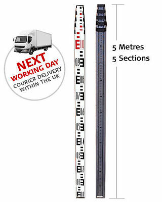 Robust 5m 5-section telescopic aluminium levelling staff / measuring staff