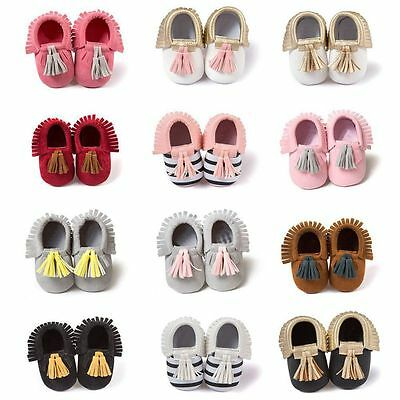 Infant Newborn Baby Soft Sole Suede Leather Shoes Boys Girls Kids Moccasin 0-18M