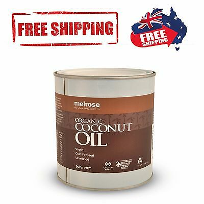Certified Melrose ORGANIC Unrefined 100% Pure COCONUT OIL Cold Pressed 900g