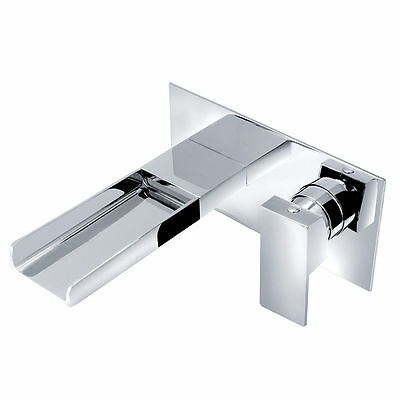 Waterfall Wall Mounted Modern Sink Chrome Lever Bath Filler Mixer Tap