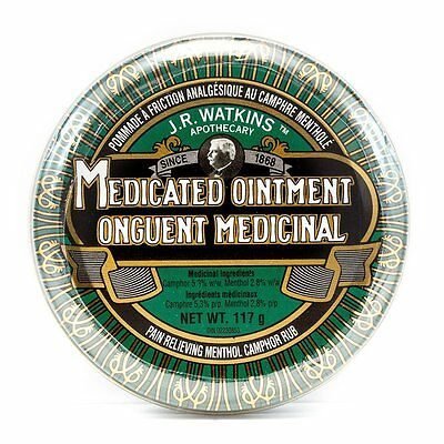 J.R. Watkins Medicated Ointment Menthol Camphor Pain Relief Caughs Colds Natural
