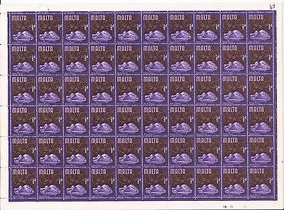 1965 Malta Definitive ½d Full Sheet + ERROR ½d Printed Twice SG.330a MNH CV£600+