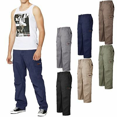 New Mens Elasticated Waist Trousers Cargo Combat Pants Work Casual Rugby Bottoms