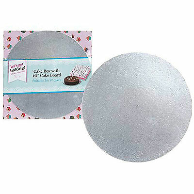 "Large Cake Box With 10"" Round Cake Board - Get Baking 10"" Decoration Accessory"