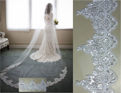 3 M1 layer comb Lace Edge Sequins Bridal Long Veil Cathedral Wedding Bridal Veil