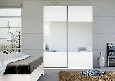 Seattle White 2 Door Sliding Wardrobe High Gloss & Mirrored - Changeable Panels