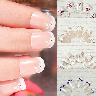 24pcs Acrylic UV Gel Designer Fake False French Nails Full Salon Nail Art tips