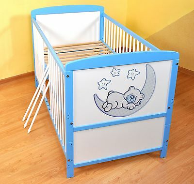 NEW WHITE-BLUE 2in1 COT-BED 120x60 no 7 - RRP 129,00 GBP - MATTRESS FOR FREE