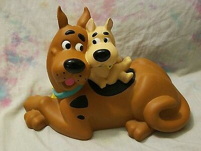 Scooby Doo & Scrappy Doo Plastic Coin Bank Hanna-Barbera 2000- Missing Stopper
