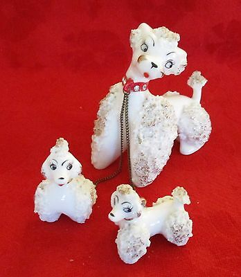 Vintage Porcelain Spaghetti Lace Mother Poodle with Chained Pups