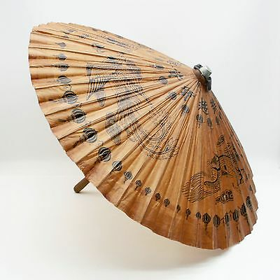 "Vtg Oriental Wooden Umbrella Dragons 37"" Diameter Bamboo Paper Parasol"