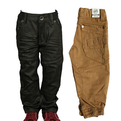 Boy's Babies Jeans Branded ENZO Designer Cuffed Straight Leg Black Pants