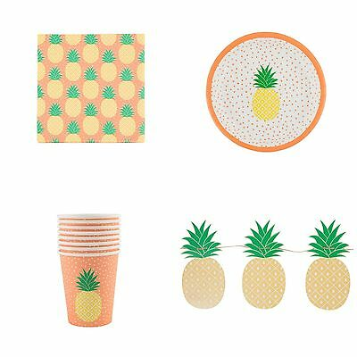 Tropical Pineapple Plates, Cups, Napkins, Bunting & Party Set, Sass & Belle