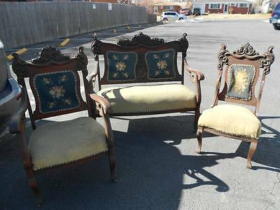 Antique Carved Victorian Eastlake Walnut 3 PC Parlor Set Needlepoint Upholstery