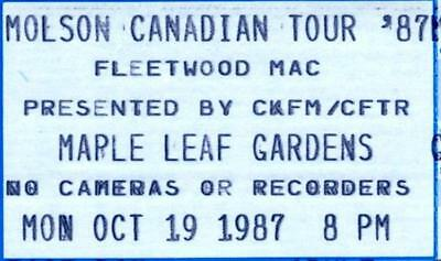 Fleetwood Mac 1987 Unused Concert Ticket - Maple Leaf Gardens, Toronto
