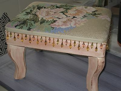 Vintage FOOT STOOL TAPESTRY with Wood Legs and BEAD TRIM-SHABBY CHIC