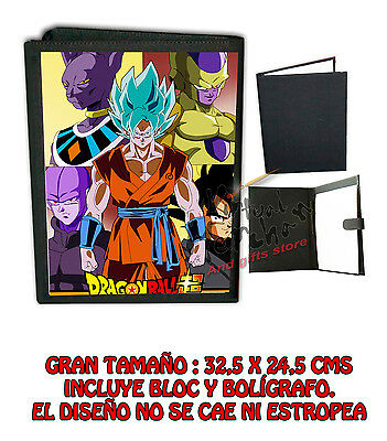CARPETA SUPER DRAGON BALL FANART Z GOKU LONETA NEGRA FOLDER bloc es