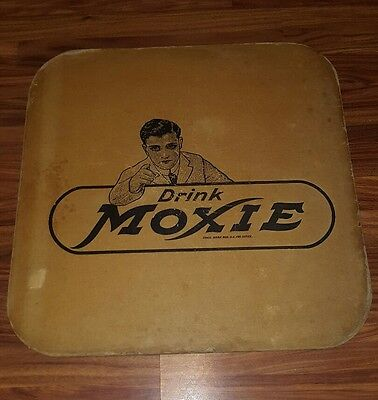 Antique Vintage Moxie Fountain Soda Cardboard Table Mat Tray Art Sign Cover