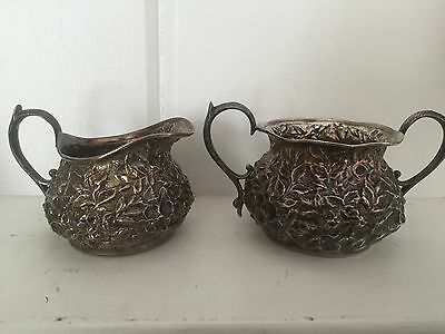 Antique Sterling repousse Creamer And Sugar Set, Hennegan, Bates & Co. Baltimore