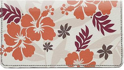 Hawaiian Pattern Leather Checkbook Cover