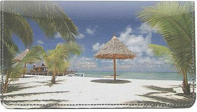 Tropical Beaches Leather Checkbook Cover