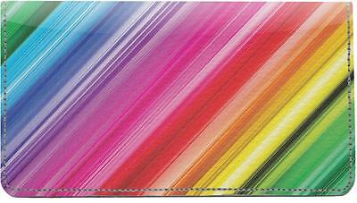 Crazy Rainbows Leather Checkbook Cover