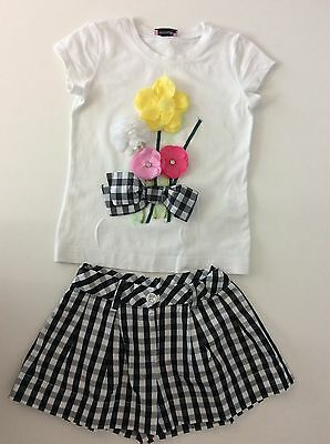 MONNALISA Girls Outfit Set Shorts & Top Age 4 Years Summer 2 Piece Black White