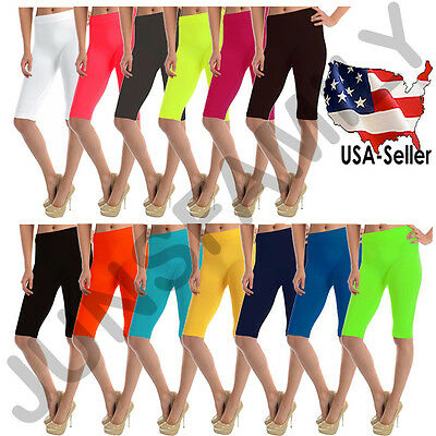 "Women 19""inch Biker Knee Length GYM Capri Workout Plain Solid Stretch Leggings"