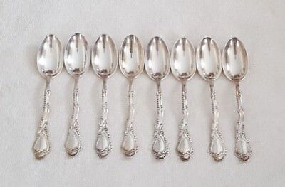 Very Ornate Set of 8 Antique Gorham SAXONY Pattern Silverplate Teaspoons
