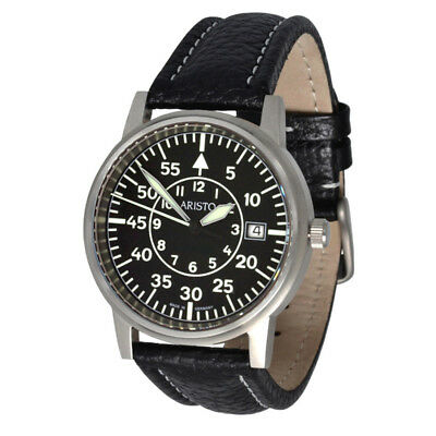 Aristo Aviator Watch 3h80 Ls with Leather Watch Straps 5atm Swiss Ronda Quartz