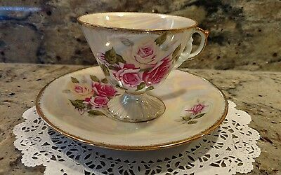 One June Rose Tea Cup & Saucer Set With Mother Of Pearl Finish