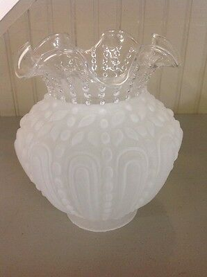 "Vintage Antique Two Tone Clear Satin Glass Hobnail Lamp Shade 3.25"" Fitter"