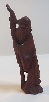 "Vntage Wooden Hand Carved Monk ~ 4"" Statue ~ Very Intricate ~ Must See"