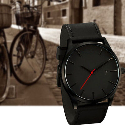 Fashion Simple Men's Date Sport Stainless Steel  Quartz Leather Wrist Watch