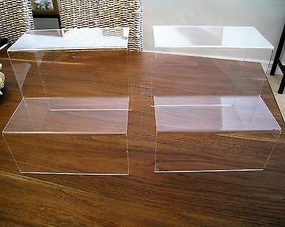 New Lot of Two Display Stand Risers Clear Acrylic Plastic $50 Value