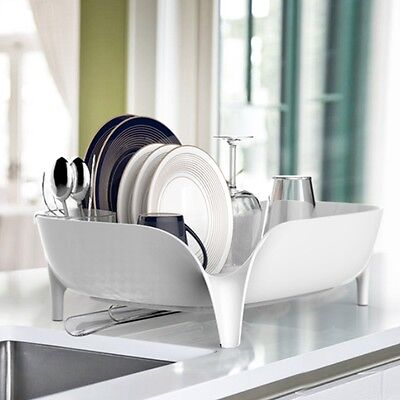 White Dish Drying Rack Kitchen Sink Drainer Plate Tray Organizer Holder