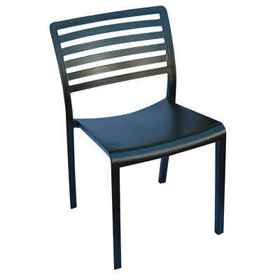 Black Stackable Plastic Outdoor Cafe Chair, Dining Restaurant Polypropylene