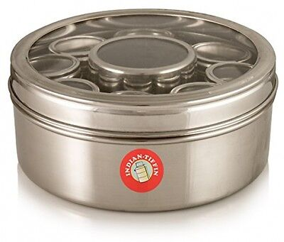 Authentic Indian Masala Dabba Spice Box With Airtight Lids (clear Lid)