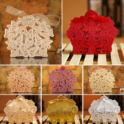 10/50/100pc Lace Laser Cut Cake Candy Gift Wedding Party Favor Boxes With Ribbon