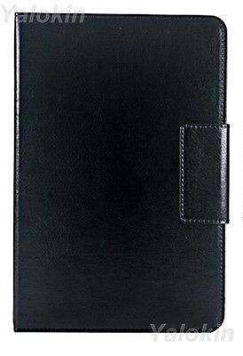 Black Leather Universal Rotating Stand Tablet Folio Case Fits iPad 6