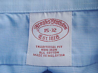 """BROOKS BROTHERS """"Traditional FIt"""", all Cotton Shirt in Blue Plaid, Mens 15-32"""
