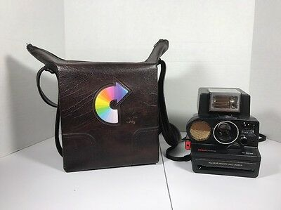 Vintage Polaroid Instant Land Camera Sonar One Step W/ Leather Carry Case