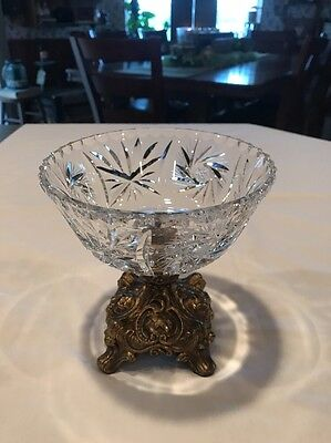 Vintage Brilliant Cut Bowl/ Candy Dish With brass Pedestal Base