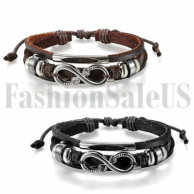 Mens Women Love Infinity Symbol Leather Bracelet Strap Charm Promise Cuff Bangle