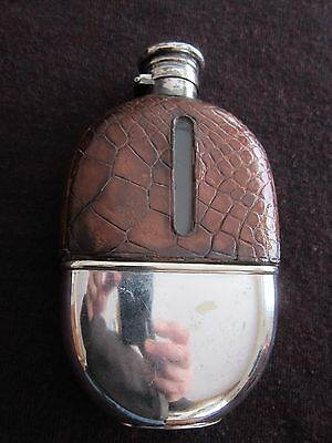 "Large Antique Crocodile Leather & Silver Plated 6.5"" Hip Flask"