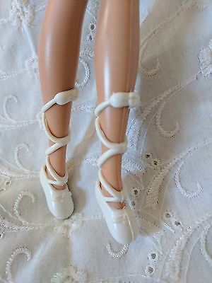 Barbie Doll Shoes - White Ballerina Shoes
