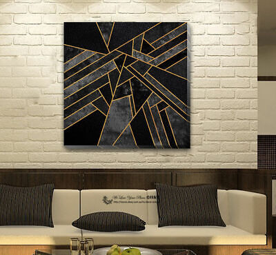 Black Gold Geometric Stretched Canvas Print Framed Home Wall Art Decor Painting