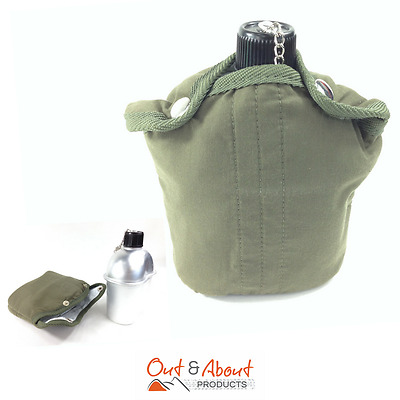 Water Bottle Canteen Drink Bottle GI Style Aluminium Olive Felt Cover Camping